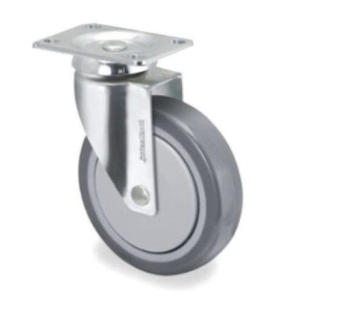 "Med Caster Stainless Steel Swivel Plate Caster Rating 190 lb. with 4"" TPR Wheel"