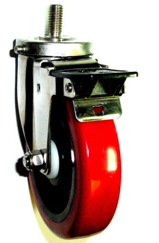 "Stainless Steel Caster with 5"" Wheel / Total Lock Brake and 1/2"" Threaded Stem"