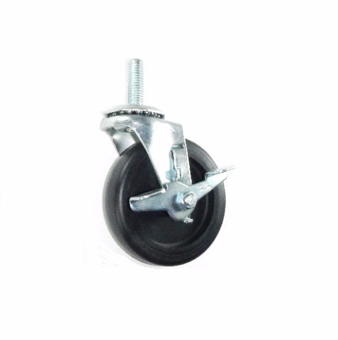 "Superior Brand, Braking 4"" Polyolefin Wheel Caster with 1/2"" -13 x 1"" Tall Threaded Swivel Stem"