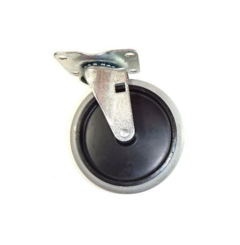 "Superior,  Swivel Plate Caster 5""x7/8"" Soft Rubber Wheel (2-1/2""x3-5/8"" Plate)"