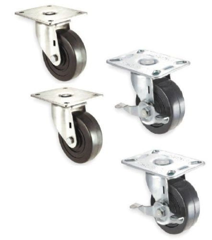 "Superior Brand, 4 New Swivel Plate Casters and 2-1/2"" Diameter Hard Rubber Wheel (2 and Brake)"