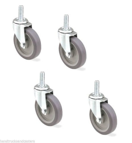 "Set of 4 Stem Casters w/ Rubber 4"" Wheel and 1/2"" - 13 x 1-1/2"" Threaded Stem"