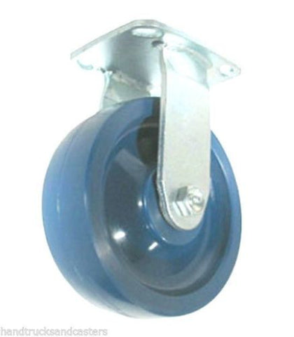 "Stainless Steel Rigid Caster 8""x2"" Solid Poly Wheel 4""x4-1/2"" Plate Blue1000#Cap"