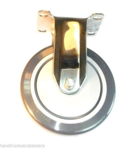 "Stainless Steel Hospital Grade Rigid Caster with 5"" x 1-1/4"" Polyurethane Wheel"