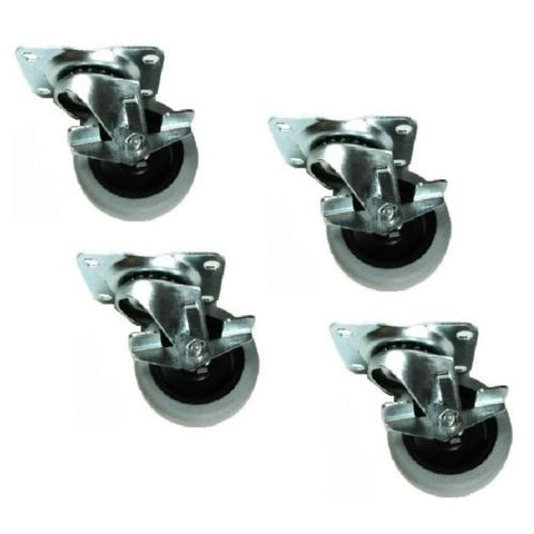 "Superior Brand, Set of 4 Swivel Plate Casters 3"" Gray Non-Marking Wheel with 3-5/8"" x 2-1/2"""