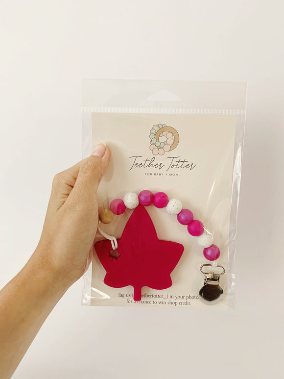 Pink Maple Leaf + Clip