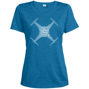Women's Moisture-Wicking T-Shirt — Drone Industry Word Cloud