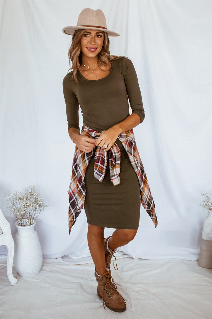 The Demi Dress - Olive