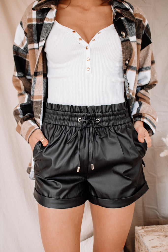 Rocklin Faux Leather Shorts