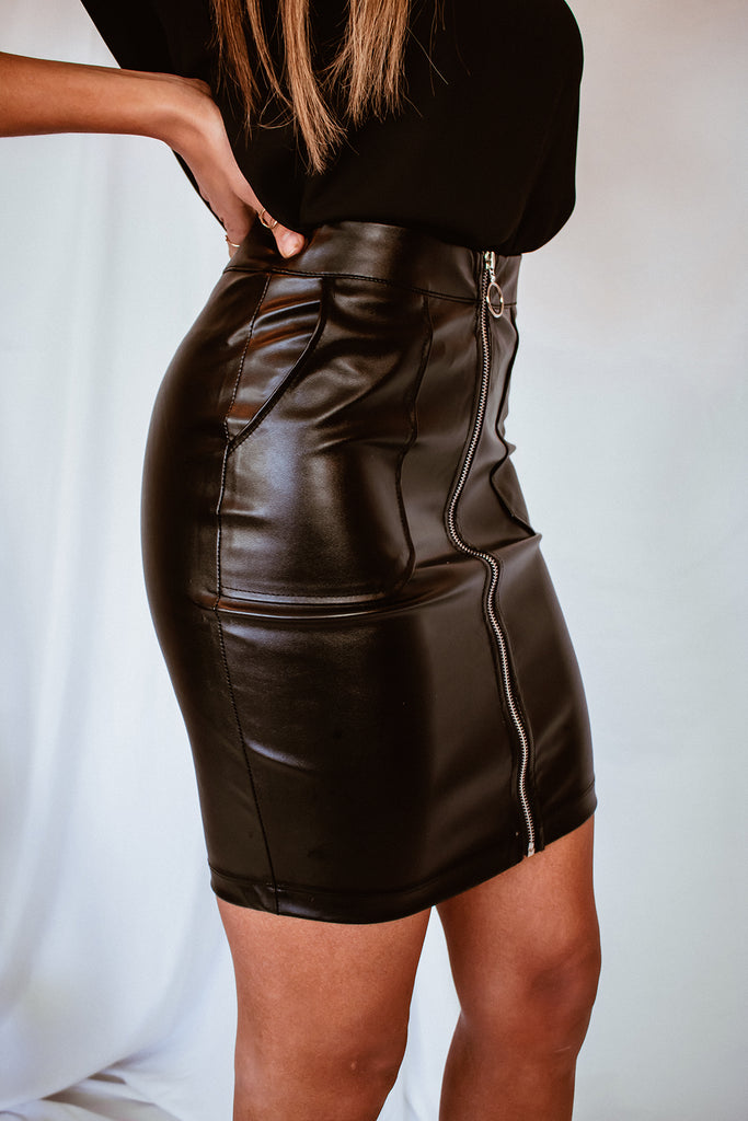 Night Out Vegan Leather Skirt