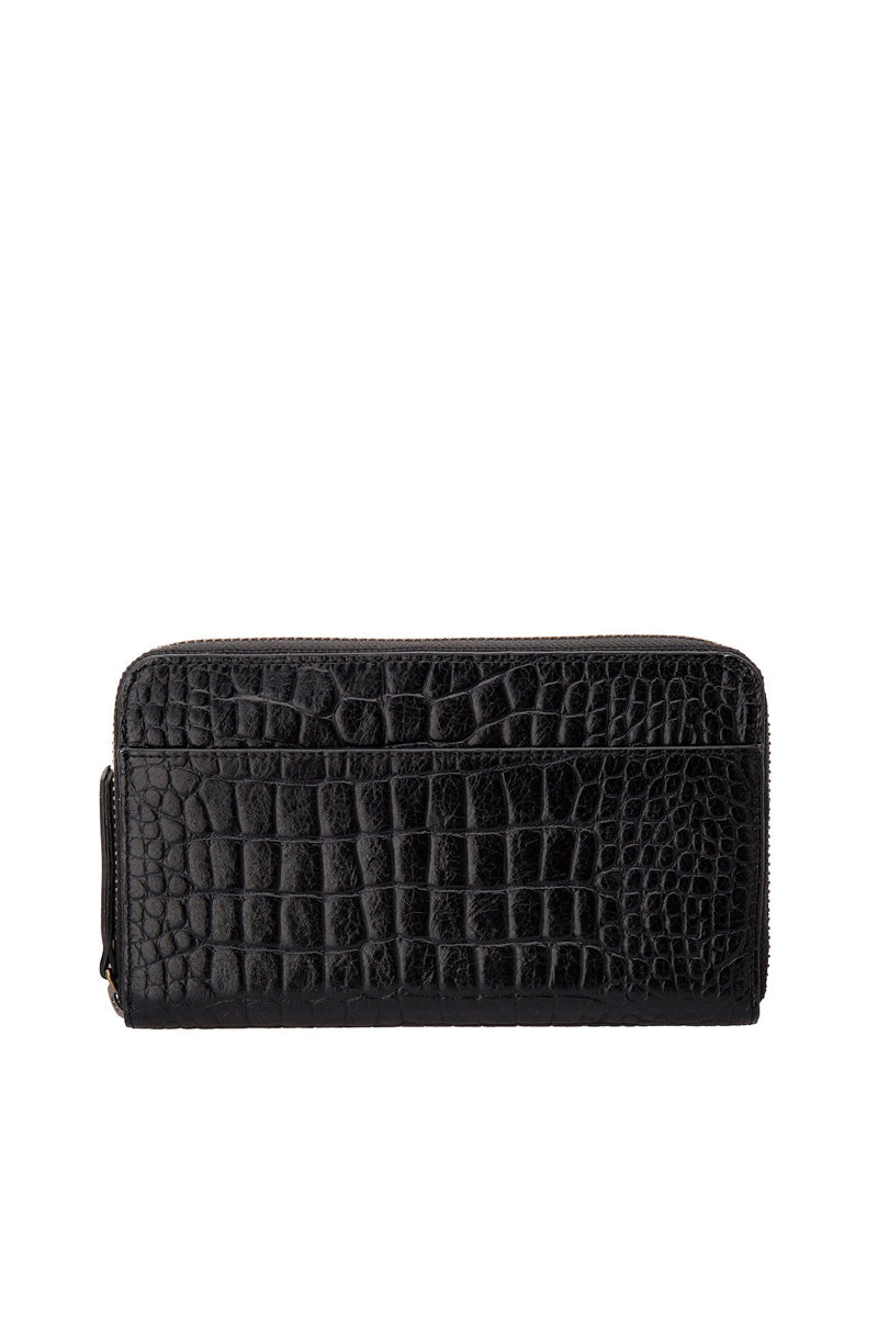 Status Anxiety - Delilah Wallet, Black Croc Emboss
