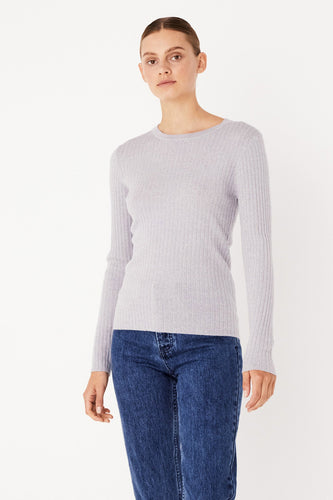 Assembly Label - Rib Long Sleeve Knit, Grey Marle