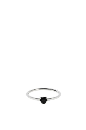 Meadowlark - Micro Heart Ring, Onyx/ Sterling Silver