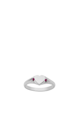 Meadowlark - Heart Signet Ring, Ruby/ Sterling Silver