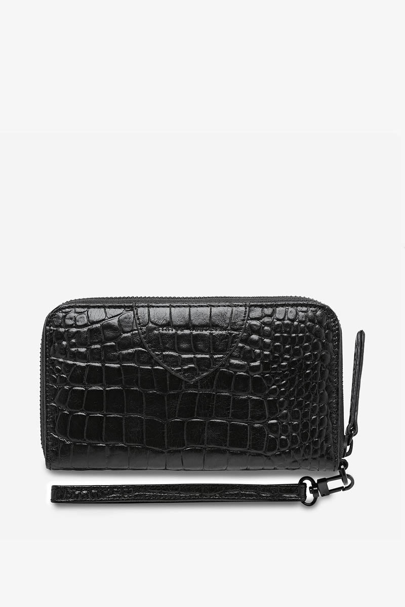 Status Anxiety - Moving On Wallet, Black Croc Emboss