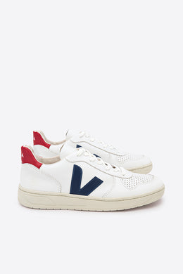 Veja - V10 Leather Sneaker, Extra White/Nautico/Pekin