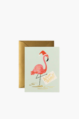 Rifle Paper Co - Greeting Card, Holiday Flamingo