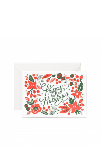 Rifle Paper Co - Greeting Card, Letterpress Poinsettia Happy Holidays