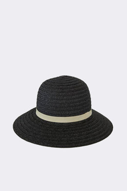 Sophie - So Shady Ribbon Hat, Black/Putty