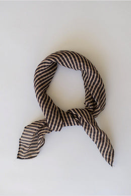 Sophie - Stripes Mini Scarf, Camel Black