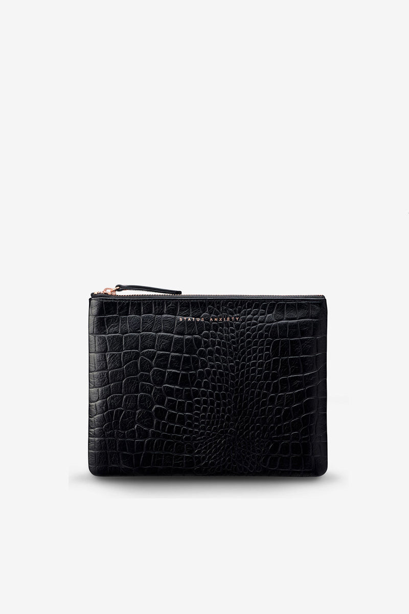 Status Anxiety - Fake It Clutch, Black Croc Emboss