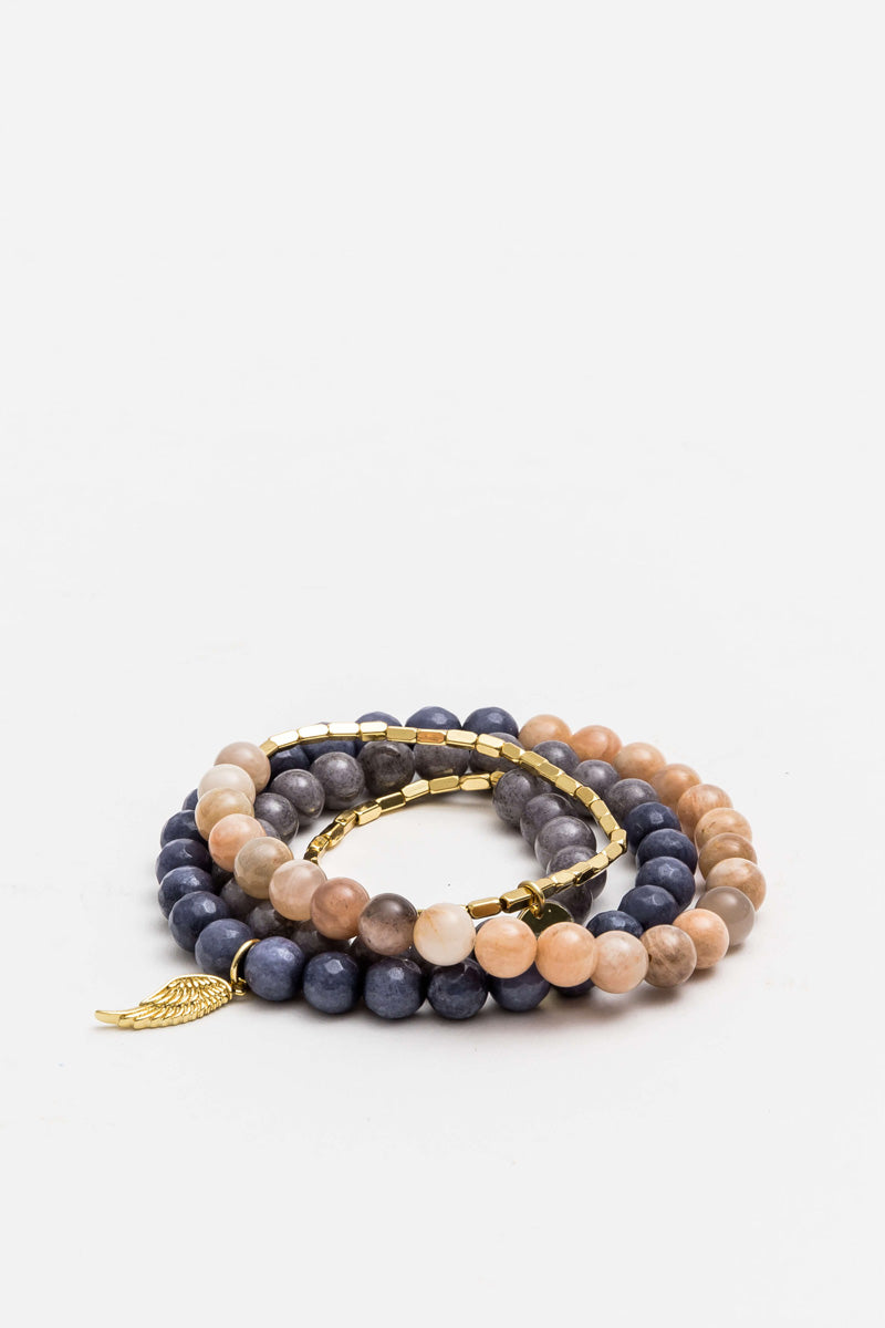 Stella + Gemma - Wrap Bracelet, Peach/Grey/Blue