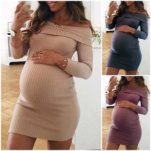 Long Sleeve Off Shoulder Knitted Maternity Dress Specialized for Pregnant  Women