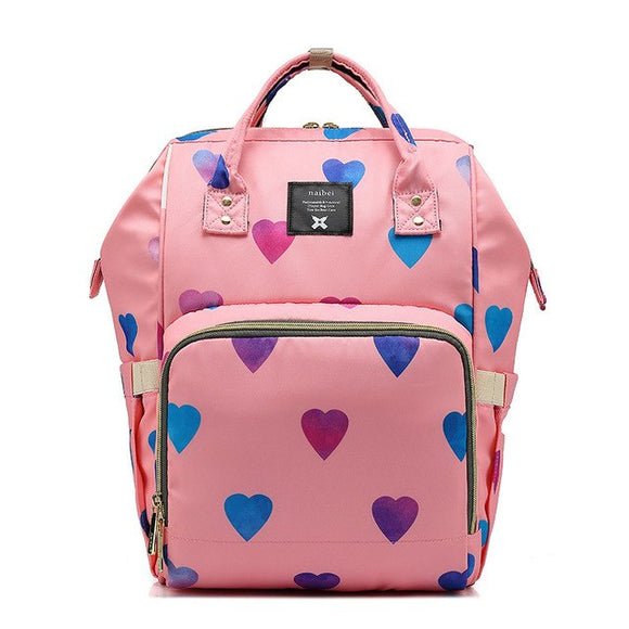 Multifunctional Baby Diaper Bag with Love Heart Printing (Large Capacity)