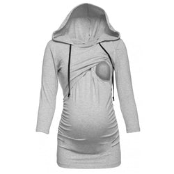 Long-Sleeve Hooded Maternity Nursing top - Honest Maternity