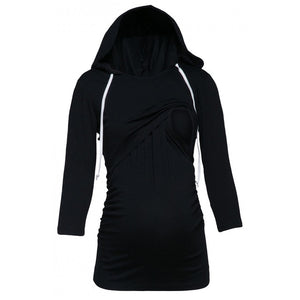 Long-Sleeve Hooded Maternity Nursing top