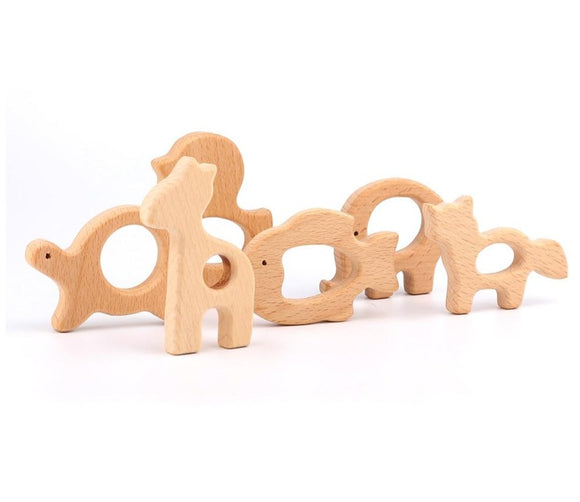 Lovely 1Pc Cartoon Natural Wood Teether - Animal Shaped