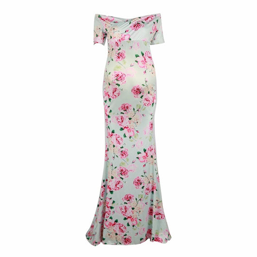 Maternity Dress (Maxi Floral Ankle-Length) - Honest Maternity