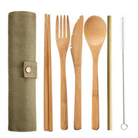 4+1 Eco Friendly Bamboo Cutlery Set and Straw