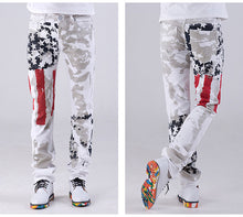 Load image into Gallery viewer, Mens US Flag Printed Straight Leg Casual Washed Cotton Jeans