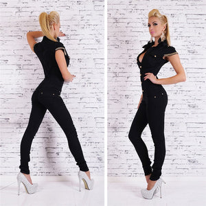 Women's Sexy Black  Short Sleeve Denim Jumpsuit