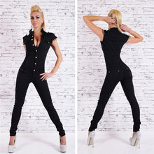 Load image into Gallery viewer, Women's Sexy Black  Short Sleeve Denim Jumpsuit