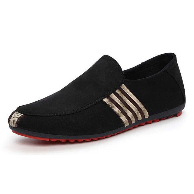 Mens Striped Solid Designer Style Slip-On Breathable Casual Shoes In 2 Colors