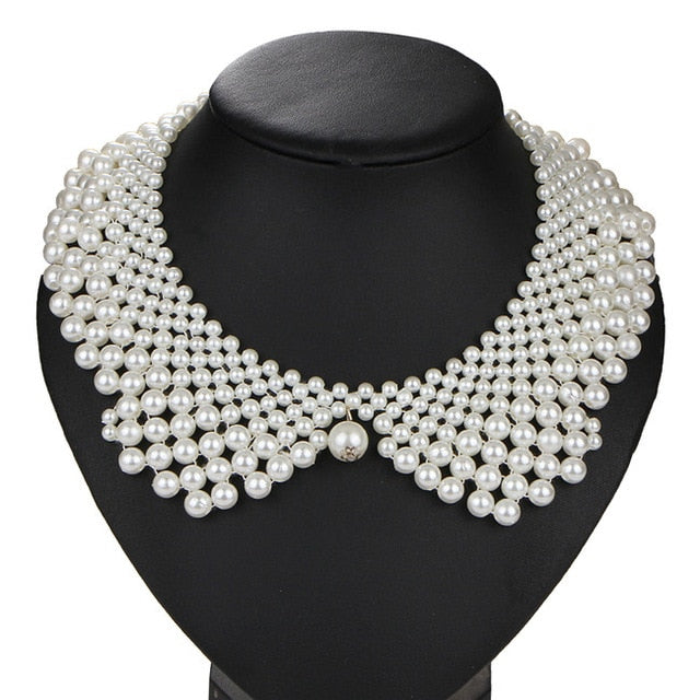 Womens Noble White & Black Imitation Pearl Choker Necklace