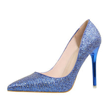 Load image into Gallery viewer, Womens Bling Glitter Pointed Toe Casual Platform High Heel Shoes