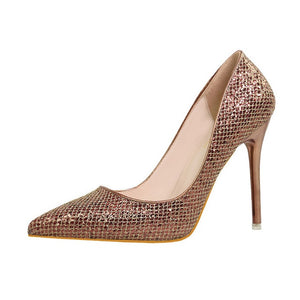 Womens Bling Glitter Pointed Toe Casual Platform High Heel Shoes