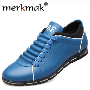 Mens Leather Solid Color Casual Athletic Style Gym Shoes In 5 Colors