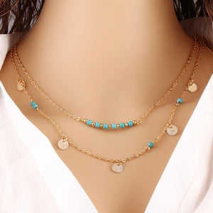Womens Simple Gold Multi Layer Choker Style Necklace