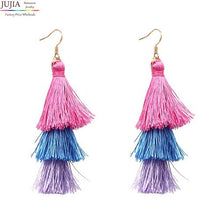 Load image into Gallery viewer, Womens Trendy Statement Rope Tassel Stud Multicolored Pompom Earrings