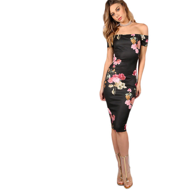 Womens Off Shoulder Floral Bodycon Knee Length Elegant Sexy Black Party Dress