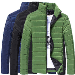 Mens Cotton Stand Puffer Style Thick Zipper Coat Jacket