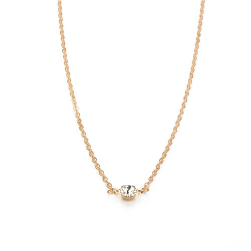 Trendy Crystal Charm Long Pendant Choker Necklace