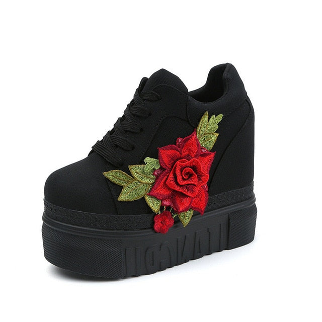 Womens Rose Decoration Lace-Up Vulcanized Casual High Heel Gym Shoes