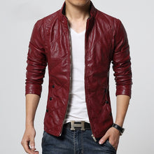 Load image into Gallery viewer, Mens Faux Leather Biker Jacket