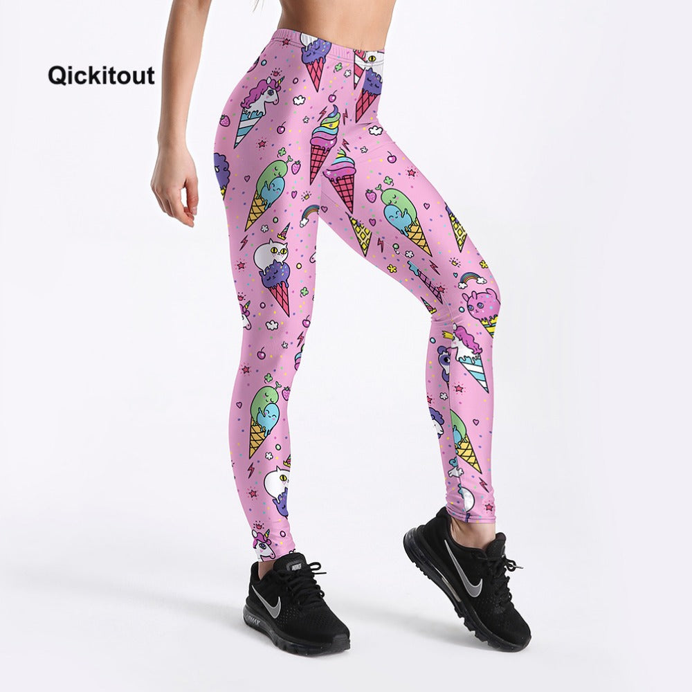 Womens 2018 Fashion Ice Cream Cone Printed High Waist Workout Fitness Leggings