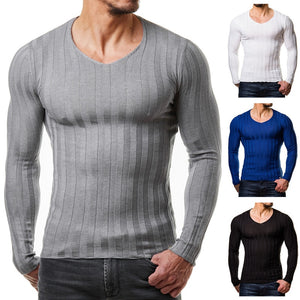 Mens Crossfit Knitted Bodybuilding Long Sleeve Fitted Muscle Tee